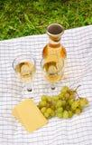 2 бокала вина, бутылка вина, белые виноградины и сыр Стоковая Фотография