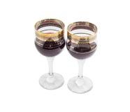 2 бокала с красным вином на светлой предпосылке Стоковое Изображение RF