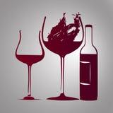Бокал вина и бутылка с красным цветом выплеска Иллюстрация штока