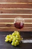 Бокал вина и виноградины натюрморта Стоковое Фото
