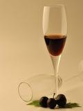Бокал вина и виноградины над белой предпосылкой Стоковые Изображения RF