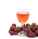 Бокал вина и виноградины Стоковые Фото