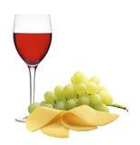 Бокал вина, сыр и зрелые виноградины изолированные на белизне Стоковые Изображения
