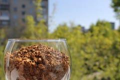 Бокал заполненный при раздробленный выведенный кофе Стоковое фото RF
