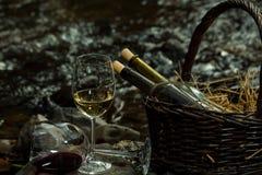 Бокал и бутылки в корзине Стоковые Фото