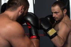 2 боксера смотря на один другого в спичке Стоковые Изображения RF