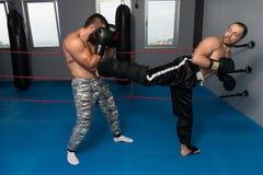 2 боксера смотря на один другого в спичке Стоковое Фото
