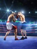 2 боксера professionl воюют на арене Стоковая Фотография