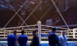 Боксерский ринг перед чемпионатом бокса события Стоковое Фото