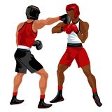 боксеры воюя иллюстрацию 2 пожара Сразите событие зрелища с knockdown между профессиональными спортсменами в векторе sportswear Стоковая Фотография RF