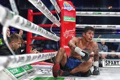 Боксеры Ramil Gadzhyiev и Bruno Sandoval воюют для названия совету бокса мира международного серебряного супер среднего веса стоковые изображения rf