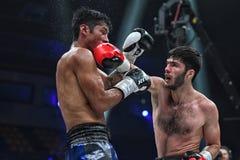 Боксеры Ramil Gadzhyiev и Bruno Sandoval воюют для названия совету бокса мира международного серебряного супер среднего веса стоковая фотография