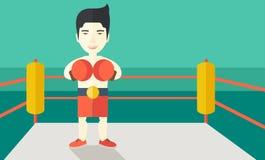 Боксер в перчатках стоя на кольце Стоковые Изображения RF