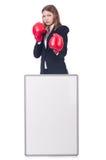 Боксер женщины с пустой доской Стоковые Изображения RF