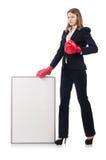 Боксер женщины с пустой доской Стоковое Изображение