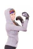 Боксер - перчатки бокса женщины пригодности нося. Стоковые Изображения RF
