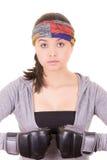 Боксер - перчатки бокса женщины пригодности нося. Стоковые Фото