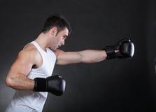 Боксер спортсмена портрета в предпосылке темноты студии стоковое фото