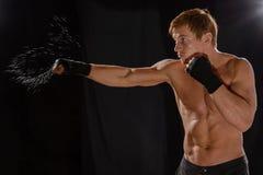 Боксер спортсмена портрета в студии против стоковое изображение