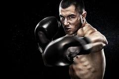 Боксер спортсмена muay тайский воюя в клетке бокса Изолированный на черной предпосылке с космосом экземпляра Стоковое Изображение RF