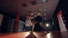 Боксер ударяет тренера с оружиями и ногами Тренировка Muttahida Majlis-E-Amal видеоматериал