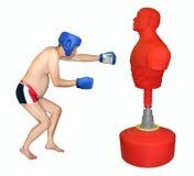 Боксер человека ударяя грушу стоковое изображение