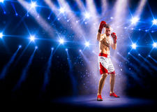 Боксер Professionl стоит на кольце Стоковая Фотография