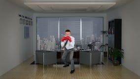 Бокс бизнесмена в комнате офиса, отснятом видеоматериале запаса акции видеоматериалы