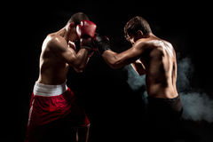 Бокс боксера 2 профессионалов на черной закоптелой предпосылке, Стоковое Изображение