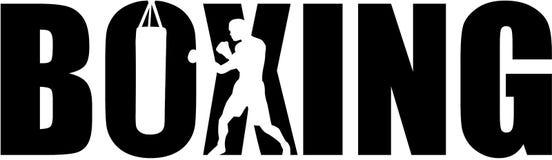 Бокс с силуэтом боксера иллюстрация штока