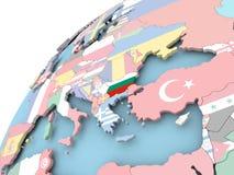 Болгария на глобусе с флагом Стоковые Изображения