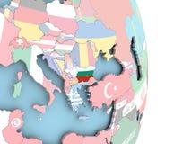 Болгария с флагом на глобусе Стоковые Фото