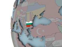 Болгария с флагом на глобусе иллюстрация вектора