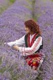 Болгарская девушка в поле лаванды стоковое изображение rf