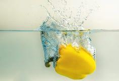 Болгарский перец падает в воду Стоковая Фотография RF
