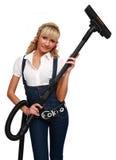 более чистый вакуум девушки стоковая фотография rf