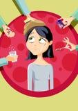 болезнь девушки иллюстрация вектора