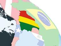 Боливия с флагом на глобусе бесплатная иллюстрация