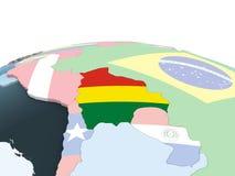 Боливия с флагом на глобусе иллюстрация штока