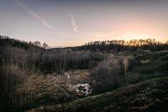 Болото в лесах на заходе солнца вечера Литва, парк Neris региональный Стоковая Фотография