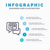 Болтовня, сообщения, всплывающие, линия значок Sms с предпосылкой infographics представления 5 шагов бесплатная иллюстрация