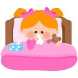 Больная девушка в кровати дуя ее нос иллюстрация вектора