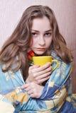 больной девушки кровати Стоковое фото RF