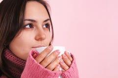больной девушки чашки Стоковая Фотография