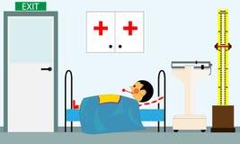Больной ребенок на офисе докторов в медицинском центре иллюстрация штока