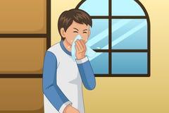 Больной человек дуя его нос на иллюстрации ткани стоковые изображения rf