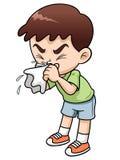 Больной шарж мальчика Стоковое Изображение RF