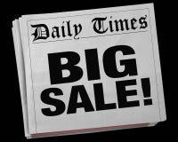 Большая беда газетного заголовка 3d события зазора рекламы продажи иллюстрация вектора