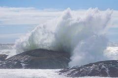 Большая волна разбивая в бечевник пляжа tofino стоковое фото