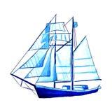 Большая голубая иллюстрация вектора корабля ветрила акварели стоковое изображение